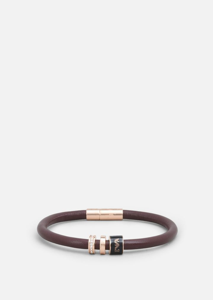 781c074da8 Rose Gold Plated Leather And Stainless Steel Bracelet | Woman ...