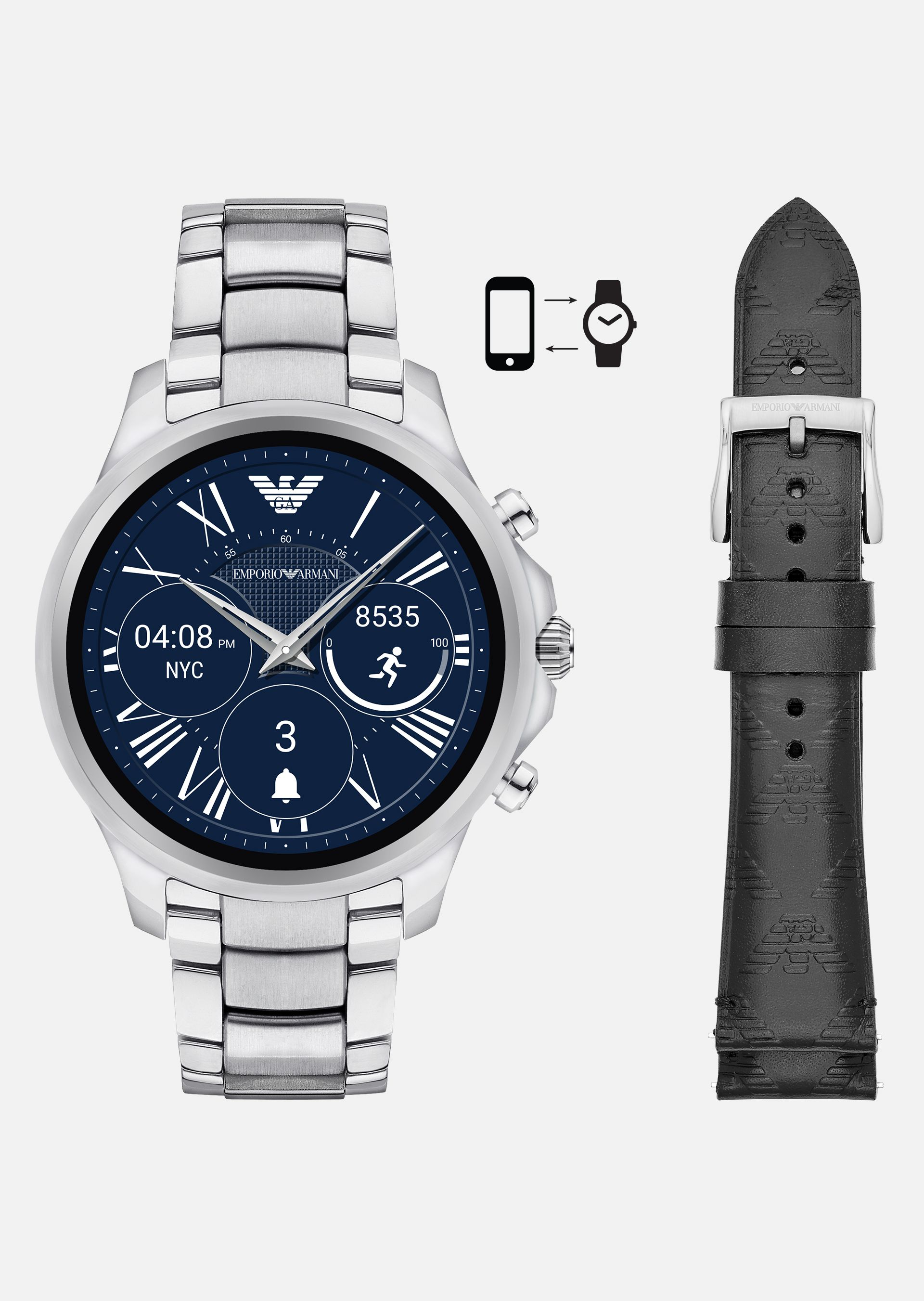 EMPORIO ARMANI GIFT SET TOUCHSCREEN SMARTWATCH ART9002+STRAP  Connected U f