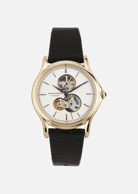 SWISS MADE WATCH IN STAINLESS STEEL AND LEATHER