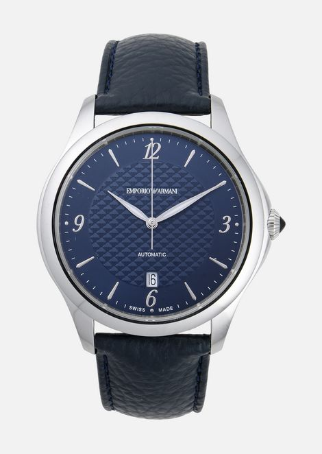 Swiss made automatic watch in steel and leather