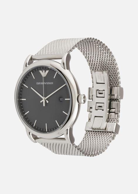Quartz watch in stainless steel