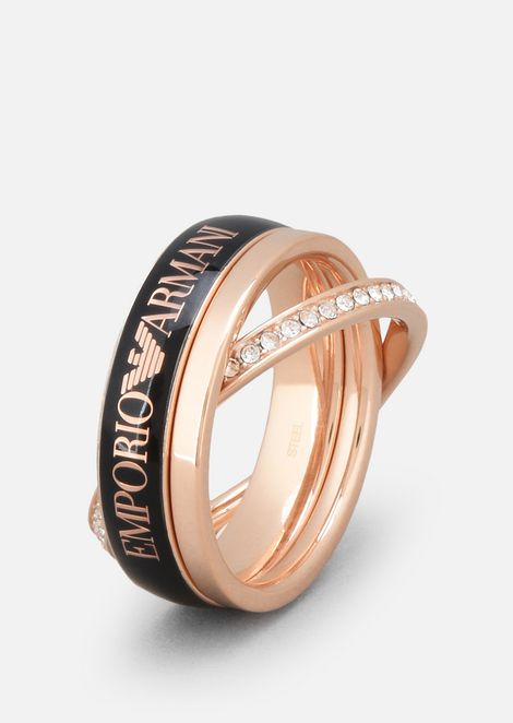 Trio of 925/1000 silver rings plated in rose gold