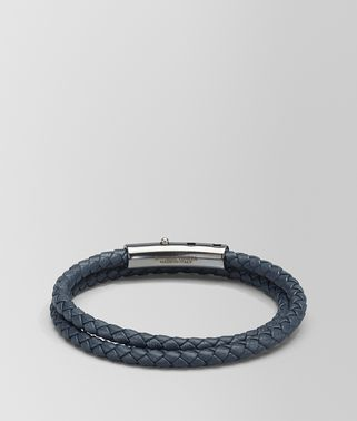 DENIM INTRECCIATO NAPPA AND SILVER BRACELET