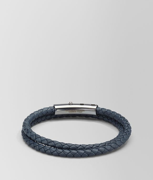 BOTTEGA VENETA DENIM INTRECCIATO NAPPA AND SILVER BRACELET Bracelet Man fp
