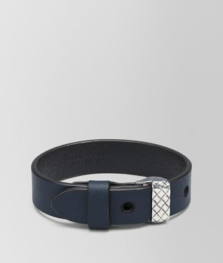 DENIM NAPPA AND SILVER AND CUIR BRACELET