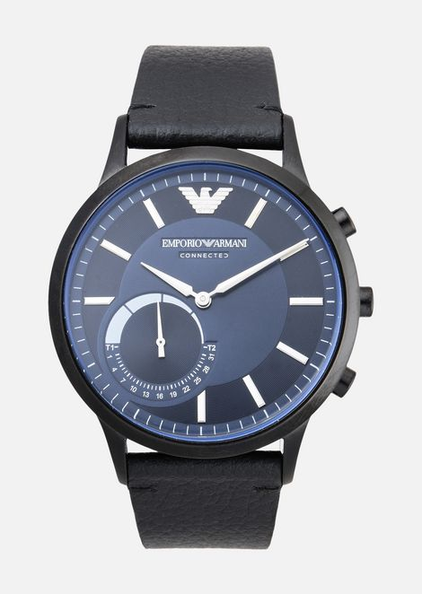 Emporio armani man leather hybrid smartwatch