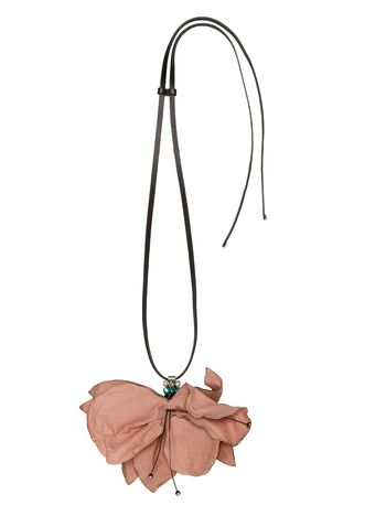 Marni Flower necklace in leather Woman
