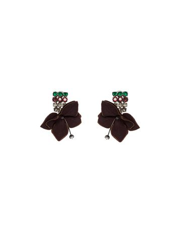 Marni Leather flower clip-on earrings Woman