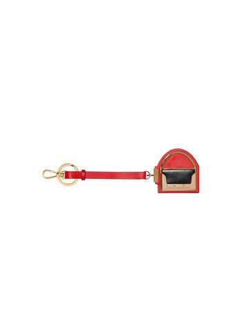 Marni Keyring in leather red Woman