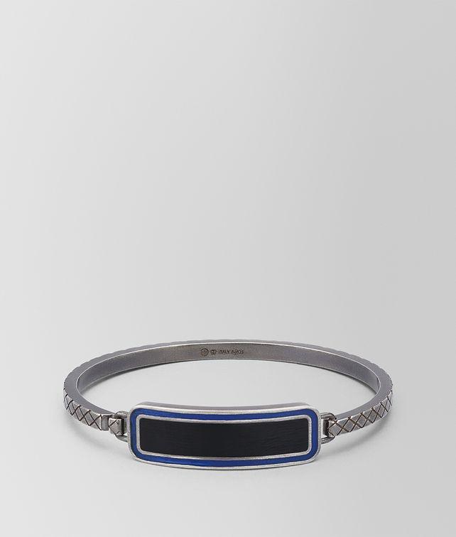 BOTTEGA VENETA OXIDIZED SILVER COBALT BLUE NERO MATTE ENAMEL BRACELET Bracelet Man fp