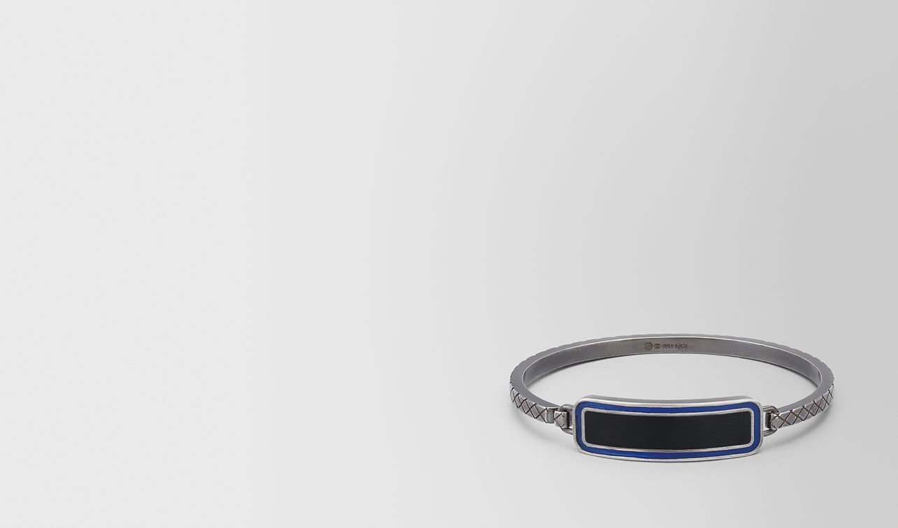 oxidized silver cobalt blue nero matte enamel bracelet landing