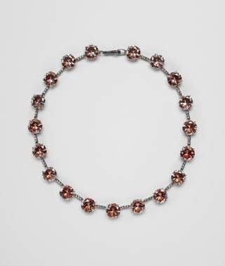 BROWN CUBIC ZIRCONIA SILVER NECKLACE