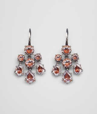 BROWN CUBIC ZIRCONIA OXIDIZED SILVER EARRING