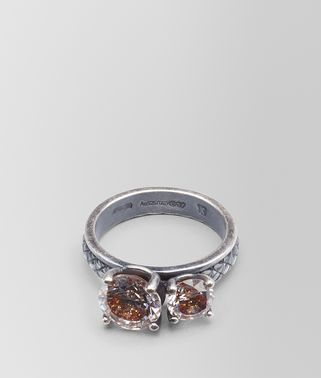 BROWN CUBIC ZIRCONIA OXIDIZED SILVER RING