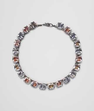 MULTICOLOR CUBIC ZIRCONIA OXIDIZED SILVER NECKLACE