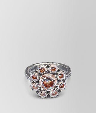 棕色方晶氧化锆银戒指