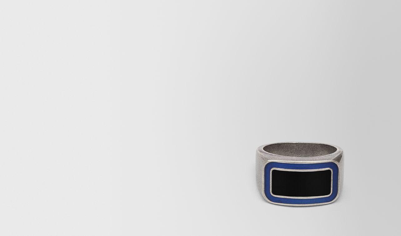 oxidized silver cobalt blue nero matte enamel ring landing