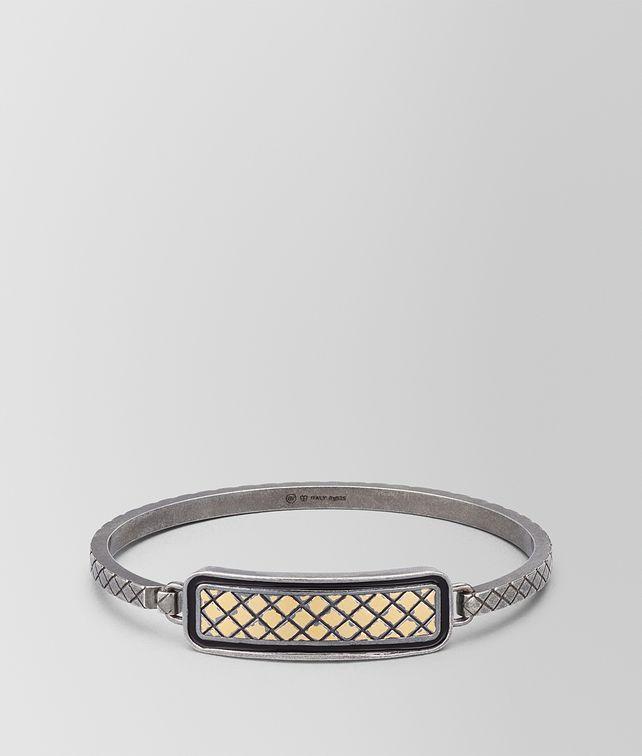 BOTTEGA VENETA OXIDIZED SILVER NERO MATTE ENAMEL BRACELET Bracelet Man fp