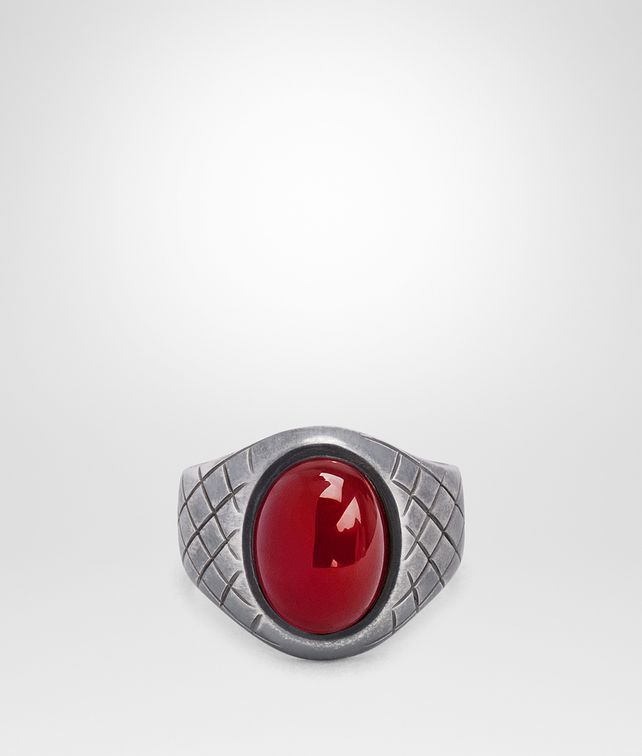 BOTTEGA VENETA OXIDIZED SILVER GARNET RING Ring [*** pickupInStoreShippingNotGuaranteed_info ***] fp
