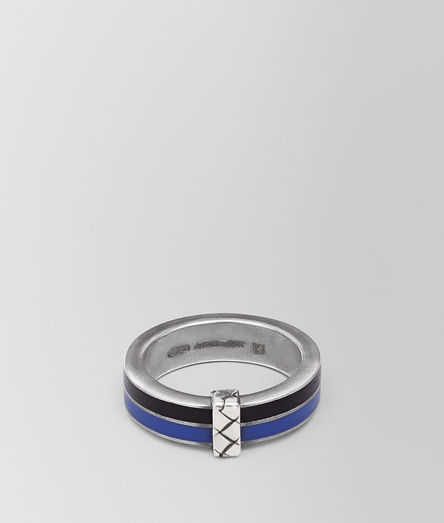 BOTTEGA VENETA OXIDIZED SILVER COBALT BLUE ENAMEL RING Necklace and Ring Man fp