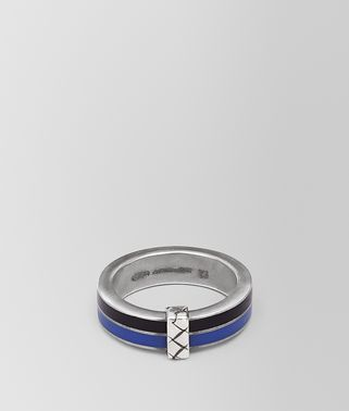 OXIDIZED SILVER COBALT BLUE ENAMEL RING