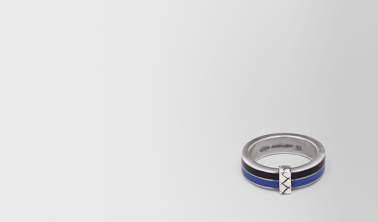 oxidized silver cobalt blue enamel ring landing