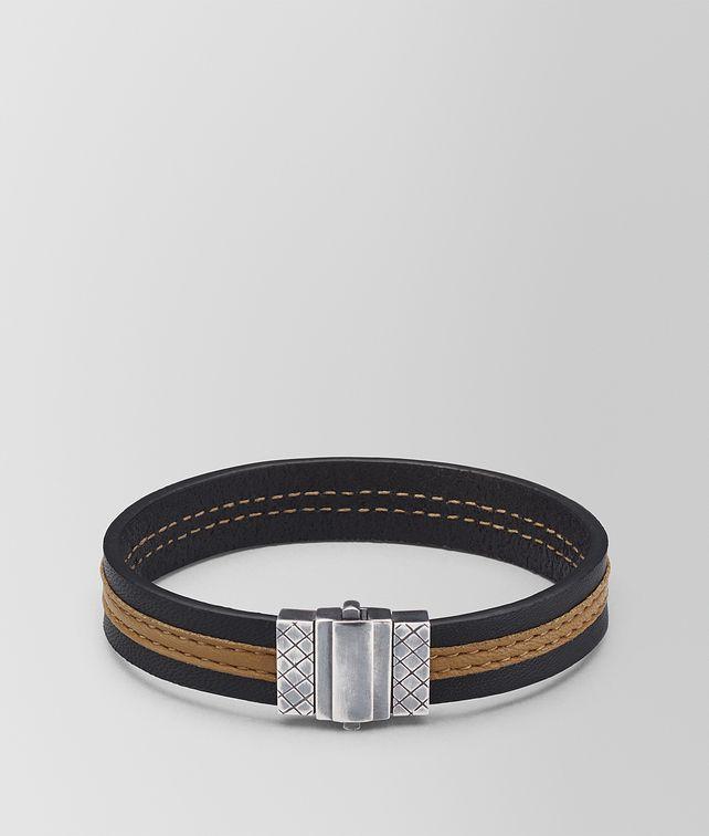 BOTTEGA VENETA BRACELET EN CUIR NAPPA NERO CAMEL Bracelet [*** pickupInStoreShippingNotGuaranteed_info ***] fp