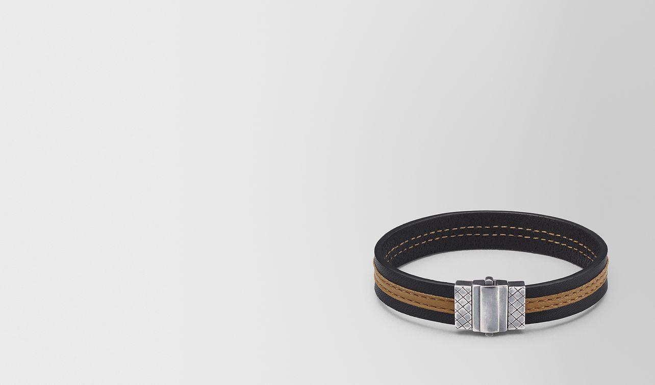 bracelet en cuir nappa nero camel landing