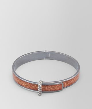 BROWN ENAMEL OXIDIZED SILVER BRACELET