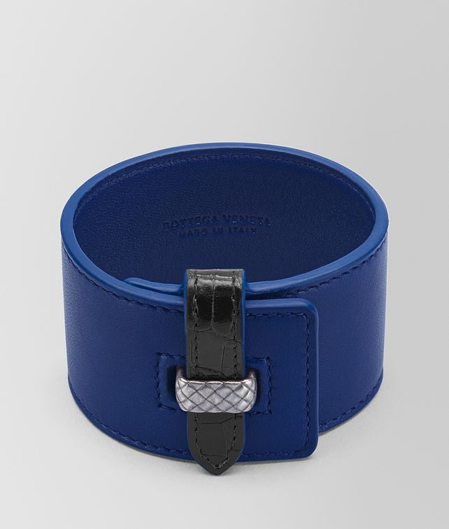 BOTTEGA VENETA COBALT BLUE NAPPA NERO CROCODILE BRACELET Bracelet Woman fp