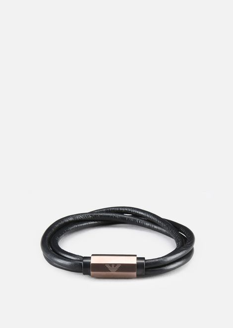 Leather bracelet with logo bolt detail