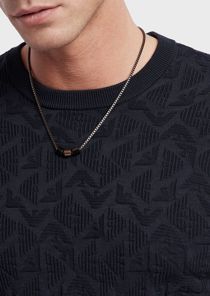 EMPORIO ARMANI Burnished steel necklace Necklace Man d