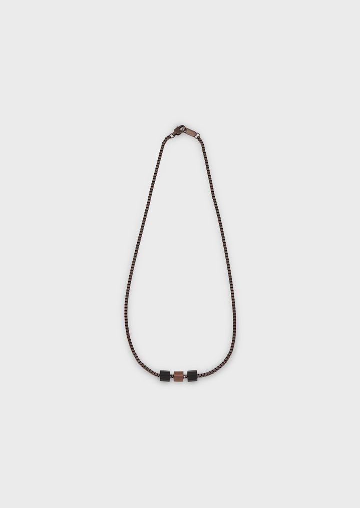 EMPORIO ARMANI Burnished steel necklace Necklace Man f