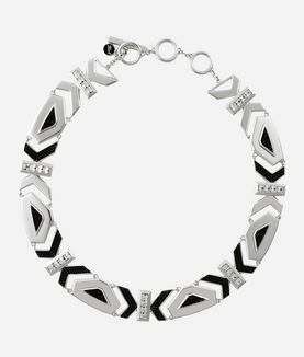 KARL LAGERFELD ART DECO K COLLAR NECKLACE