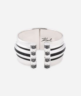 KARL LAGERFELD ART DECO STRIPED HINGE CUFF