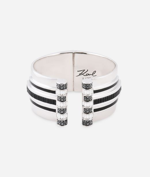 KARL LAGERFELD Art Deco Striped Hinge Cuff 12_f