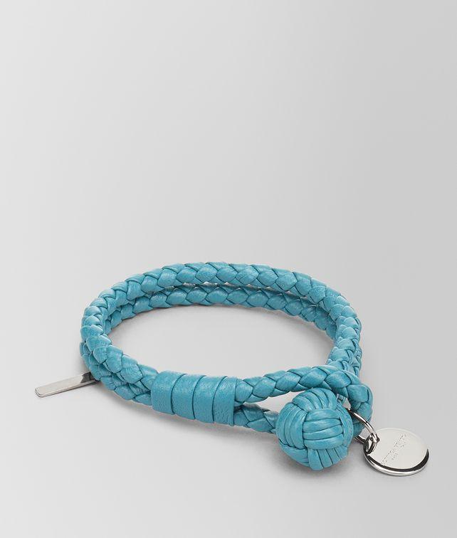 BOTTEGA VENETA AQUA INTRECCIATO NAPPA BRACELET Keyring or Bracelets E fp