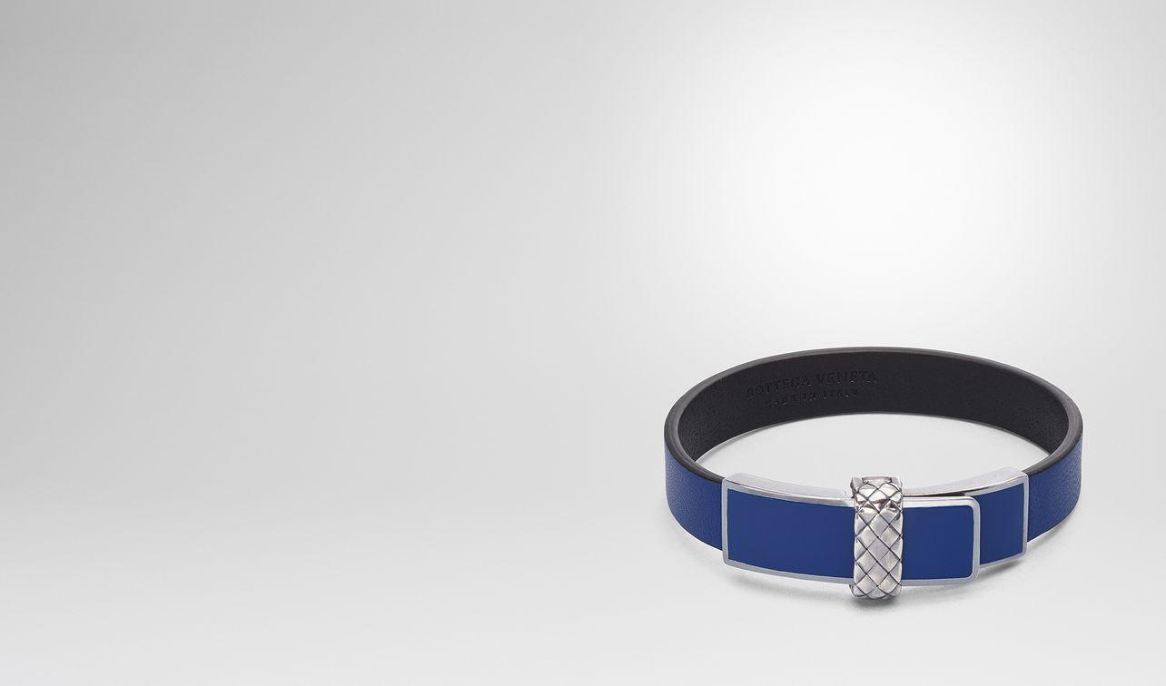 bracelet en cuir nappa cobalt blue landing