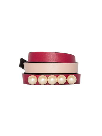 Marni Double-wrap bracelet in leather pink Woman