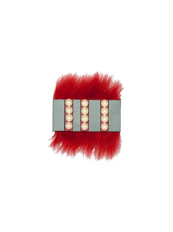 Marni Brooch in shearling and pearls Woman