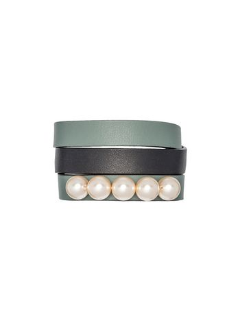 Marni Double-strand bracelet in green leather Woman