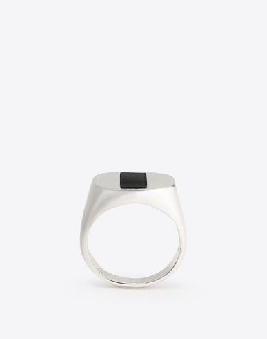 MAISON MARGIELA Ring U Silver and onyx ring f