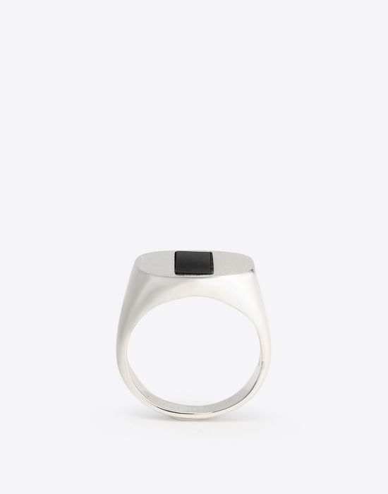 MAISON MARGIELA Silver and onyx ring Ring Man f
