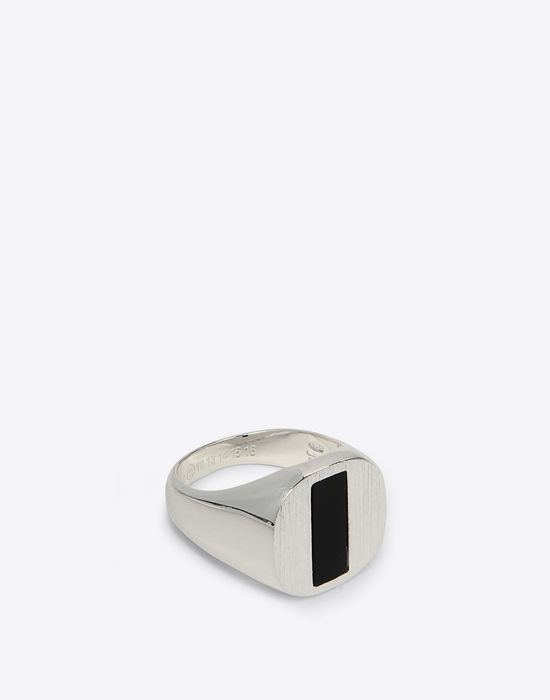 MAISON MARGIELA Silver and onyx ring Ring Man r