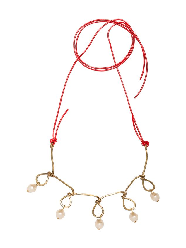 pp qlhm leather gold necklace horn tone and shopping in marni