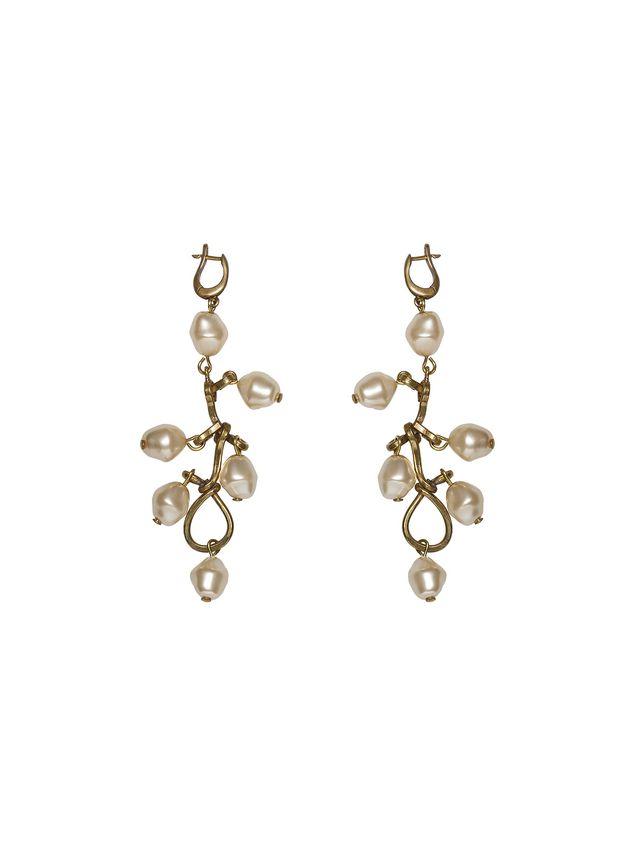 Marni Screw earrings in metal, pearl and glass Woman - 1