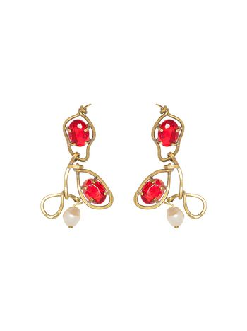 Marni Hook-on earrings in metal, pearl and glass Woman