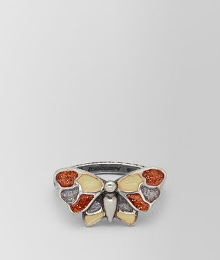 MULTICOLOR ANTIQUE SILVER BUTTERFLY RING