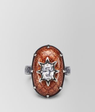 BROWN ANTIQUE SILVER STELLULAR RING