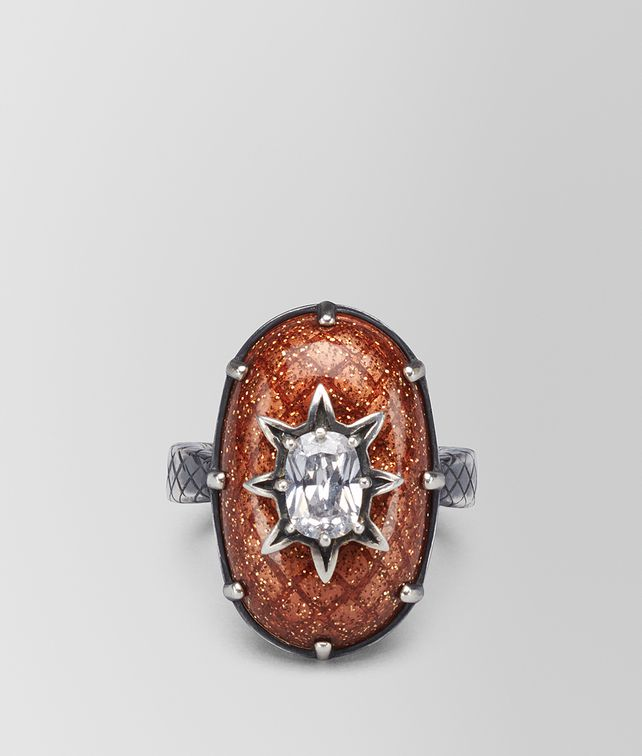 BOTTEGA VENETA BROWN ANTIQUE SILVER STELLULAR RING Ring [*** pickupInStoreShipping_info ***] fp